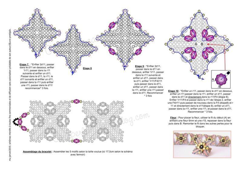 Схема плетения широкого браслета из бисера без помощи других. www.hobbies.pp.ua Схема плетения широкого браслета из...